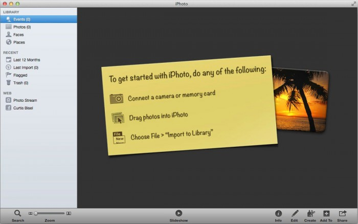 "How a brand new and empty iPhoto ""Photo Library"" looks when it's first created. (iPhoto'11 v.9)"