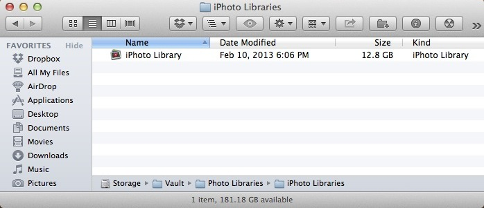 iPhoto Photo Library file in a finder window