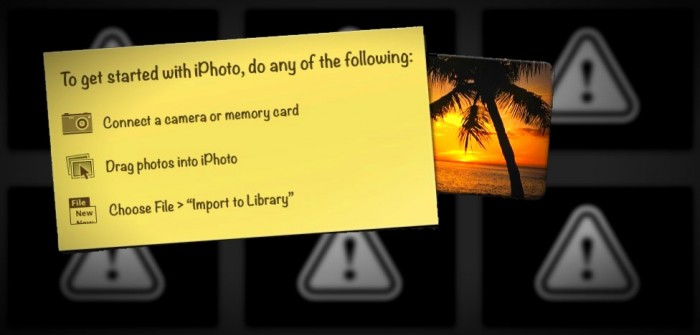 graphic wall of missing images in iPhoto with new iPhoto library instructions