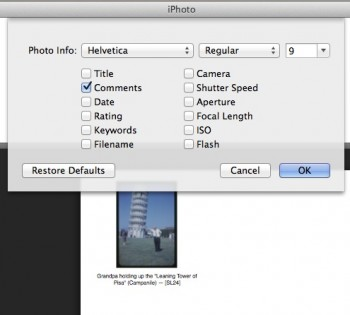 Settings to print out captions using iPhoto and printing contact sheets